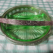 9 inch Green Depression  divided candy dish and  silver holder