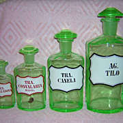 Antique Vaseline Glass Apothecary Bottles Set of 4