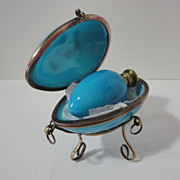 Antique Blue Opaline Glass Egg Perfume Bottle in A Glass Egg Box