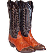 Vintage Tony Lama Cowboy Boots in Burnt Sienna and Brown