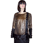 1920's Black Silk & Gold Lame Blouse with Stylized Floral Designs