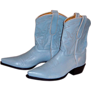 Baby Blue Leather Caborca Cowboy Boots