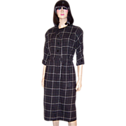1940's Chic and Comfortable, Charcoal Gray & White Flannel Shirtwaist Dress