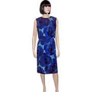 1960's Sleeveless Sheath Dress with a Blouson Top in Hues of Blue
