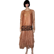 Magnificent 1920's Peachy Ecru Lace Gown with Beaded Dropped Waist Line