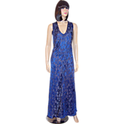 1930's Prussian Blue and Gold Lame Sleeveless Gown