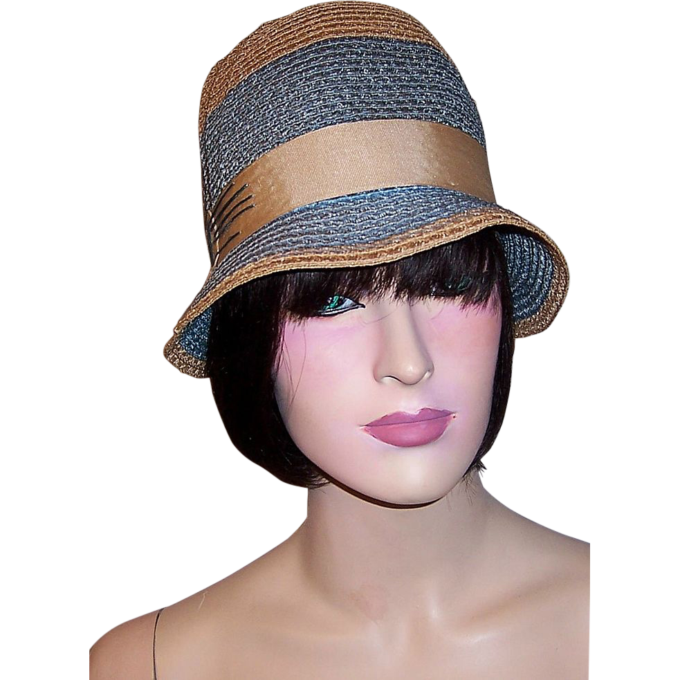 1920 39s Tan and Teal Blue Straw Cloche with Tan Grosgrain Ribbon
