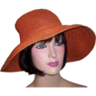 Late 1960's Orange Variegated Straw Hat with Floppy Brim