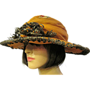 Edwardian (1901-1919) Orange Silk Embroidered Hat with Black Straw