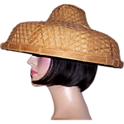 Large Chinese Banana Leaf and Bamboo Lattice Hat