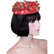 Charming, Tomato-Red Topper by Hattie Carnegie with Celluloid Berries