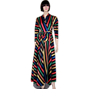 1940's Vibrant Multi-Colored Striped Housewrapper