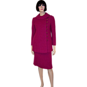 Stylish & Gorgeous Red Raspberry Nubby Woolen Suit