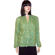 1960's Celery Green Italian Hand Knit Cardigan Sweater