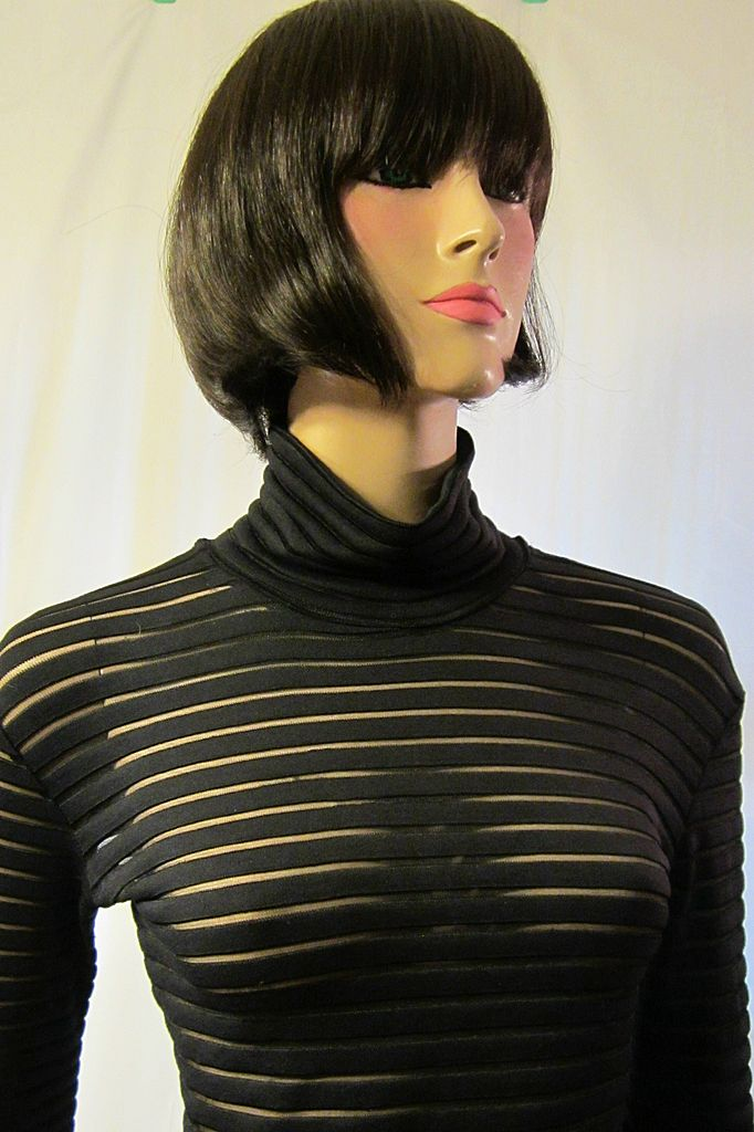 Black Solid And Sheer Striped Top And Pants From