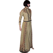 Victorian (1837-1901) Cream-Colored Embroidered Bodice & Long Skirt