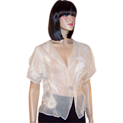 One-Of-A-Kind, Chiffon Blouse with Antique Embroidery & Felting Elements