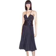 BCBGMAXAZRIA-Black Silk Pleated Cocktail Dress