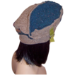 Patchwork Woolen Hat with Green Leather Side Buckle