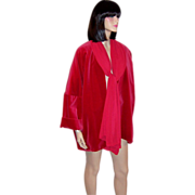 Lili Crepon-Paris, France-Cerise-Colored Velvet & Chiffon Jacket