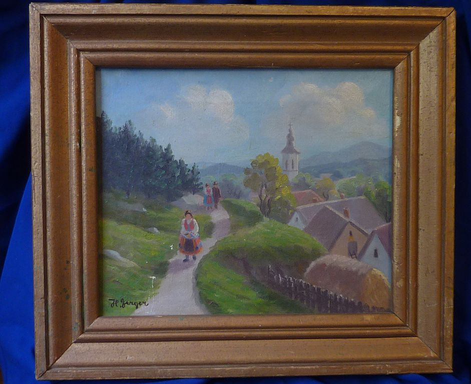 Painting oil on canvas of eastern European village scene ...