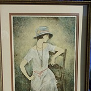 French figurative art original pencil signed limited edition lithograph  print by listed Frenc