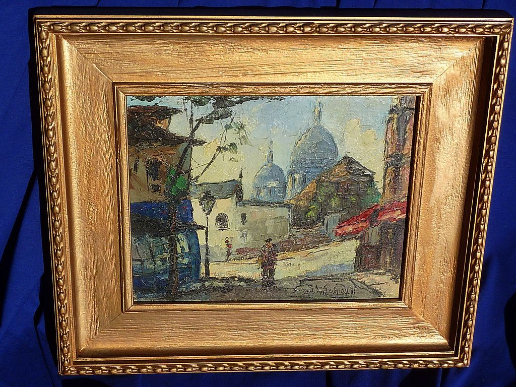Paris Montmartre impressionist oil painting  signed listed artist R.Vandenbulcke