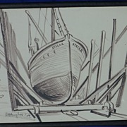 Daisy Marguerite Hughes (1882-1968) pencil drawing of the boat or yacht named Stella