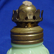 Vintage Milk Green Jade Glass  miniature oil lamp lantern