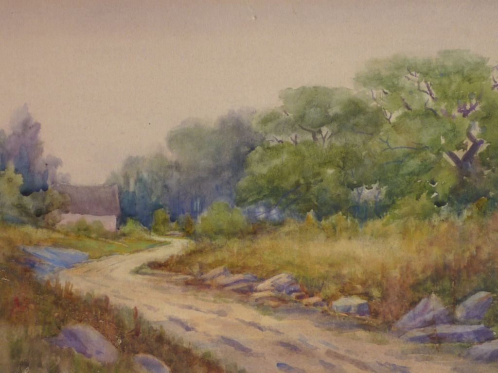 Peaceful Rural Landscape Scene Watercolor Painting From Dg On Ruby Lane