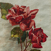 1933 Watercolor painting of red roses signed