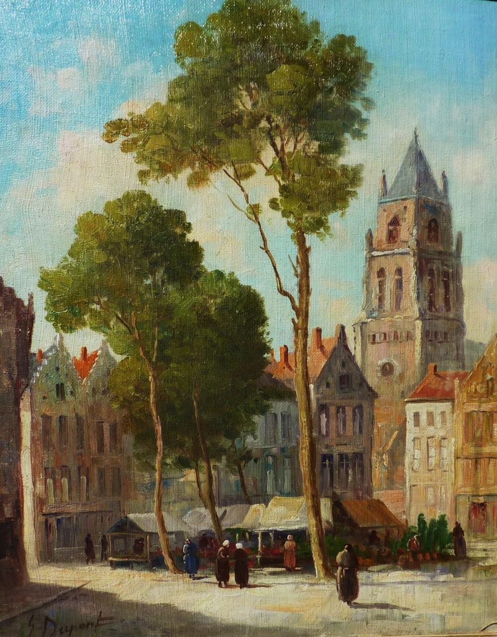 GDupont Early 20th Century Belgian Artist Impressionist Street Scene From Dg On Ruby Lane