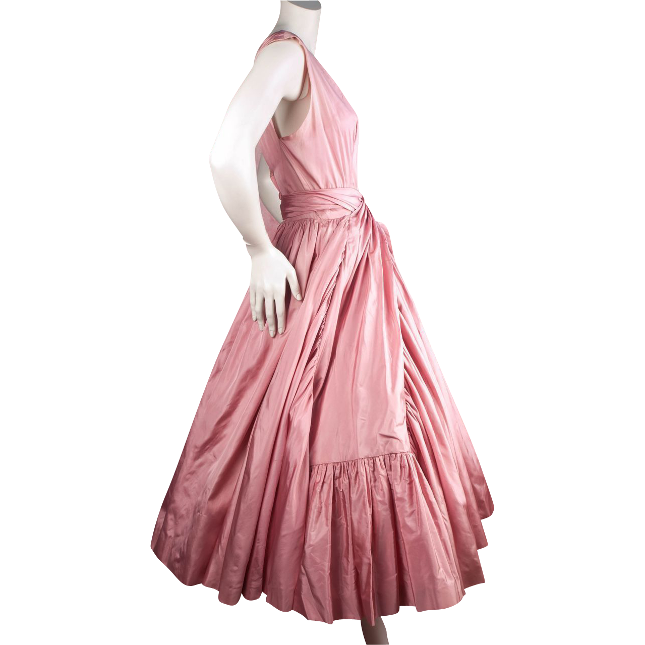 Important Early 1950's Hubert de Givenchy Pink Satin Dress