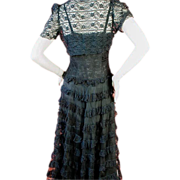 Elegant 1930's Black Lace and Tulle Gown and Lace Bolero Jacket