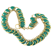 Fabulous Art Deco Teal Green Plastic Circle and Brass Ring Necklace