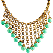 SALE Circa 1940 Miriam Haskell Bib Necklace Turquoise   & Gilded Brass