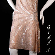 FABULOUS 1920's Peach Beaded Flapper Dress - Sz Sm