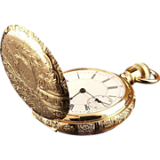 14k Gold Women's Double Case Pocket Watch Fully Engraved, 1930's