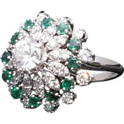 Majestic 18K White Gold Emerald & Diamond Cluster Ring - mid Century