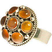 Carmen Beckmann Sterling & Amber Domed Ring, ca 1960's