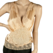 1930's  Peach Silk Camisole *Three Laces  *Sz M-Lge