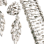 "Shimmering Sherman Rhinestone Bracelet & 3 1/4"" Earrings Demi"