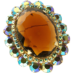 Exquisite Juliana Delizza & Elster Brooch Pendant Cognac & AB