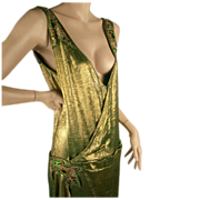 Exceptional 1920's Gold Lame Beaded Dress - Great Sz