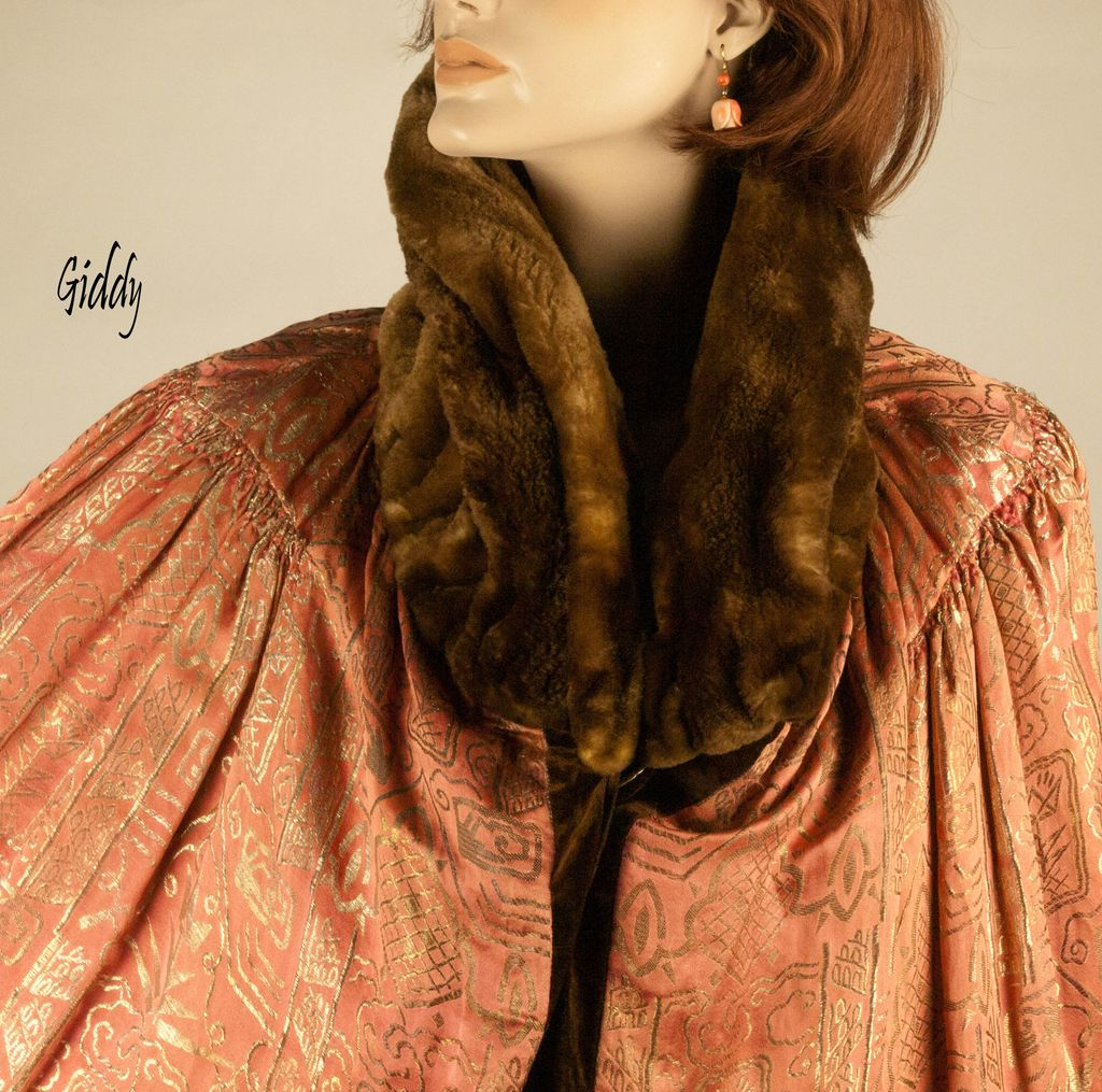 1920's Reversible Silk Cape *Velvet to Rose & Gold Damask
