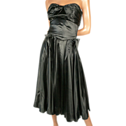 "Extraordinary 1950s Black Silk Satin  Dress *33/34""B24/25""W"