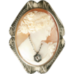 14k White Gold Cameo  &quot;En Habille&quot; *Goddess Flora *ca 1930