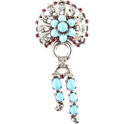 1940's Crown Trifari Sterling Linked Brooch *Ruby RS & Turquoise Glass