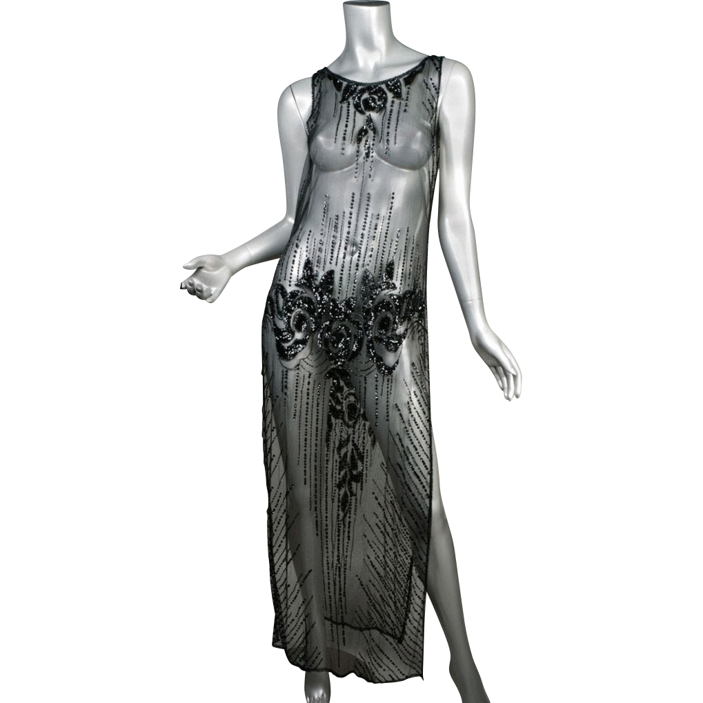 1920's Beaded & Sequin Net Tunic Dress  *55&quot;L 38&quot; B