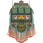 ca 1900 Micro Beaded Handbag *20 Beads/Inch